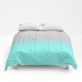 Modern girly faux silver glitter ombre teal ocean color bock Comforters