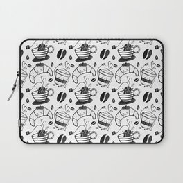 Coffee, tea and croissants for everyone! - Black & white Laptop Sleeve