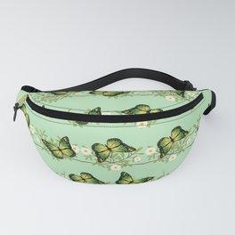 Green butterflies pattern Fanny Pack