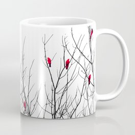 Artistic Bright Red Birds on Tree Branches Coffee Mug