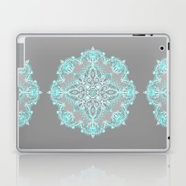 Teal and Aqua Lace Mandala on Grey Laptop & iPad Skin