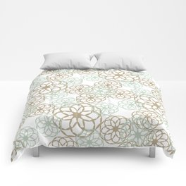 Green & Brown Floral Pattern Comforters
