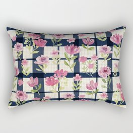 Sweetly Pink & Navy Vintage Plaid Rectangular Pillow