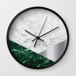 White Marble - Green Granite & Silver #999 Wall Clock