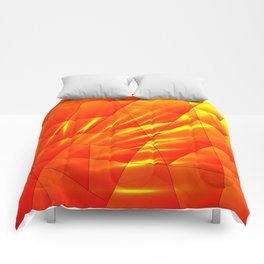 Bright sunshine on orange and yellow triangles of irregular shape. Comforters