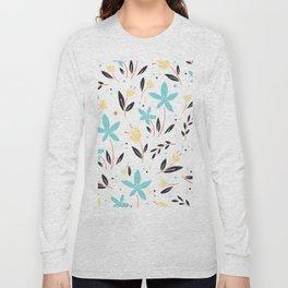 Garden Gate Flowers Motif Long Sleeve T-shirt