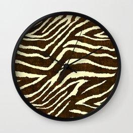 Animal Print Zebra in Winter Brown and Beige Wall Clock