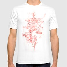 Abstract Lines, Linear Pyramid Space White Mens Fitted Tee MEDIUM
