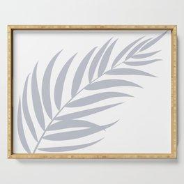 Light Pastel Gray White Coastal Frond Palm leaf Serving Tray
