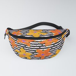 Carrot Orange Watercolor Flowers and Stripes Pattern Fanny Pack