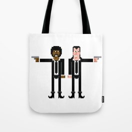 Pixel Pulp Fiction Characters Tote Bag