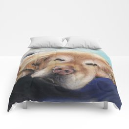 Sweet Sleeping Golden Retriever Puppy by annmariescreations Comforters
