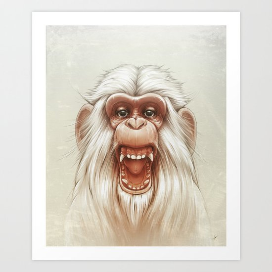 The White Angry Monkey Art Print