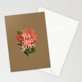 Yes Today Satan - lily flower, blush pink, deep tan colour combo Stationery Cards