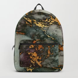 Gray Green Marble Glitter Gold Metallic Foil Style Backpack