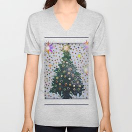 Christmas D3 - Stars & Tree Unisex V-Neck