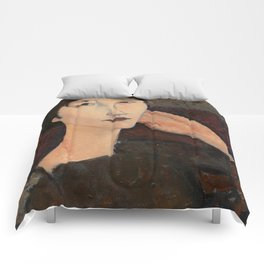 "Amedeo Modigliani ""Adrienne (Woman with Bangs)"" (1916) Comforters"