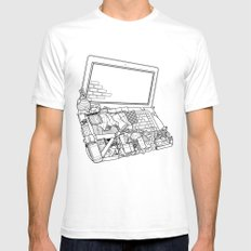 Laptop Surroundings Mens Fitted Tee White SMALL