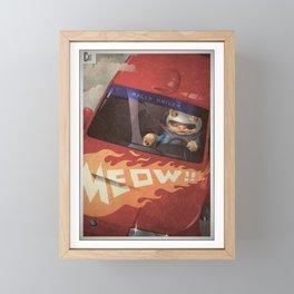 A-Z Animal, Cat Rally Driver - Illustration Framed Mini Art Print