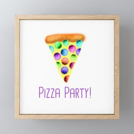 Pizza Party! (Rainbow Pepperoni and Purple Text) Framed Mini Art Print
