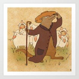 The wolf who played shepherd Art Print