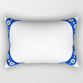 Blue Floral Tile Art Ornament Rectangular Pillow