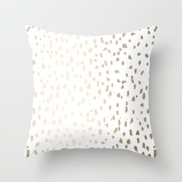 Luxe Gold Painted Polka Dot on White Throw Pillow