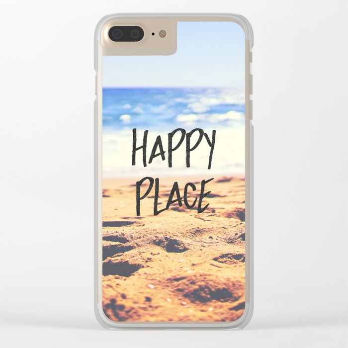 Happy Place Beach Clear iPhone Case