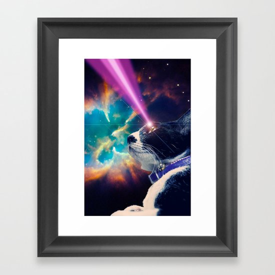 Neko San in Space Framed Art Print