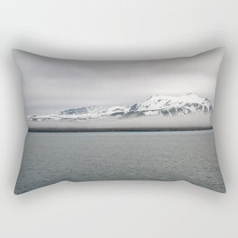 Fog between Arctic Ocean and glacier mountains Rectangular Pillow