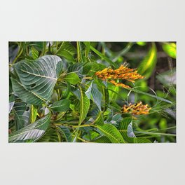 Yellow flower in the rain forest Rug