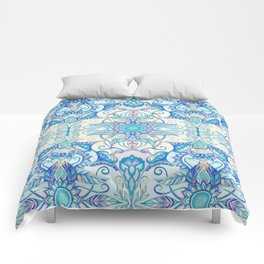 Teal Blue, Pearl & Pink Floral Pattern Comforters
