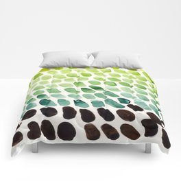 Colorful Watercolor Scales Rainbow Pattern Deep Green Lime Green Comforters