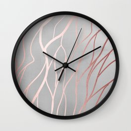 Gorgeous Sparkle Silver and Peach Pattern Wall Clock
