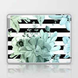 Succulents in the Garden Teal Blue Green Gradient with Black Stripes Laptop & iPad Skin
