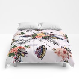 Be wild. Boho watercolor feathers. Fashion Comforters
