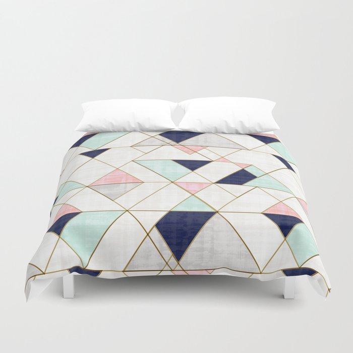 Mod Triangles - Navy Blush Mint Duvet Cover
