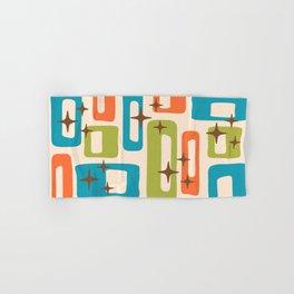Retro Mid Century Modern Abstract Pattern 921 Orange Chartreuse Turquoise Hand & Bath Towel