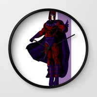 magneto Wall Clocks featuring Magneto by Andrew Formosa