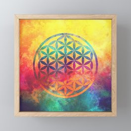 Rainbow Flower Of Life Framed Mini Art Print