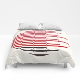 Mid Century Modern Minimalist Circle Photo Red Stripe Pattern Comforters