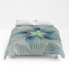 A Floral Fantasy, Abstract Fractal Art Comforters