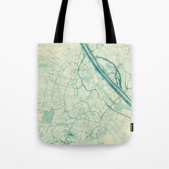 Vienna Map Blue Vintage Tote Bag
