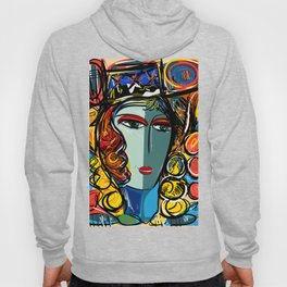 Portrait of a Girl with Hat French Pop Art Expressionism Hoody