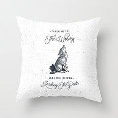 WOLF #BLUE Throw Pillow