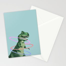 T-Rex the Hula Dancer in Green Stationery Cards