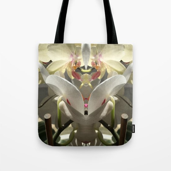 White orchid mirrored Tote Bag