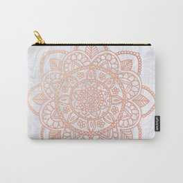Rose Gold Mandala on White Marble Carry-All Pouch