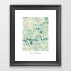 Rotterdam Map Blue Vintage Framed Art Print