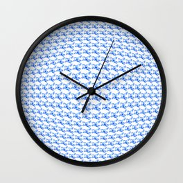 Minimalist Blue Pegasus Bubble Print Wall Clock